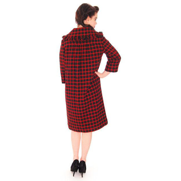 Vintage Galanos Sheath Dress/ Unique Coat Red/Green Wool Plaid Early 1960s  Small - The Best Vintage Clothing  - 8