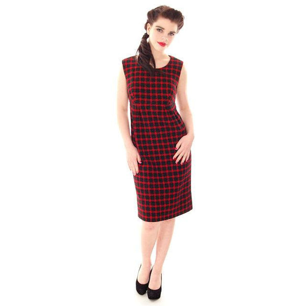 Vintage Galanos Sheath Dress/ Unique Coat Red/Green Wool Plaid Early 1960s  Small - The Best Vintage Clothing  - 4