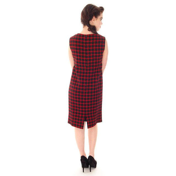 Vintage Galanos Sheath Dress/ Unique Coat Red/Green Wool Plaid Early 1960s  Small - The Best Vintage Clothing  - 5