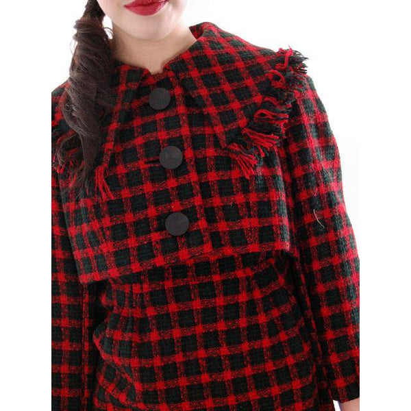 Vintage Galanos Sheath Dress/ Unique Coat Red/Green Wool Plaid Early 1960s  Small - The Best Vintage Clothing  - 2