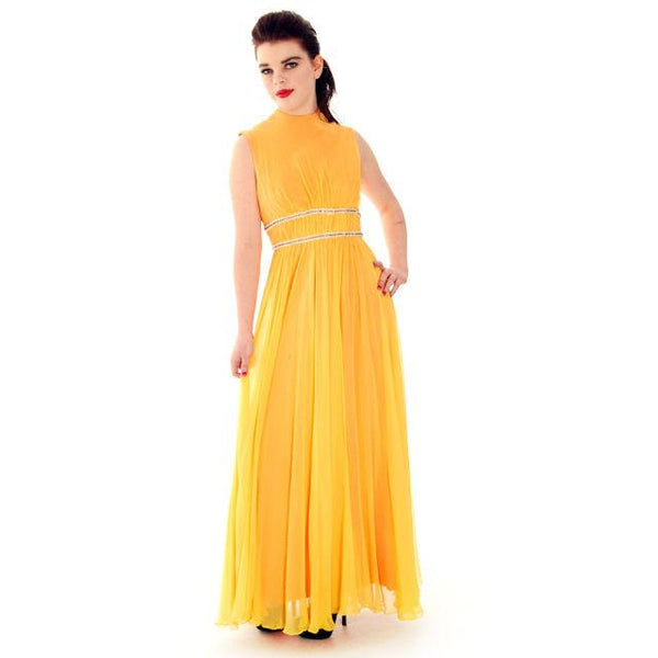 Vintage Yellow Silk Chiffon Maxi Evening Gown Modern Couture 1970s Small - The Best Vintage Clothing  - 3