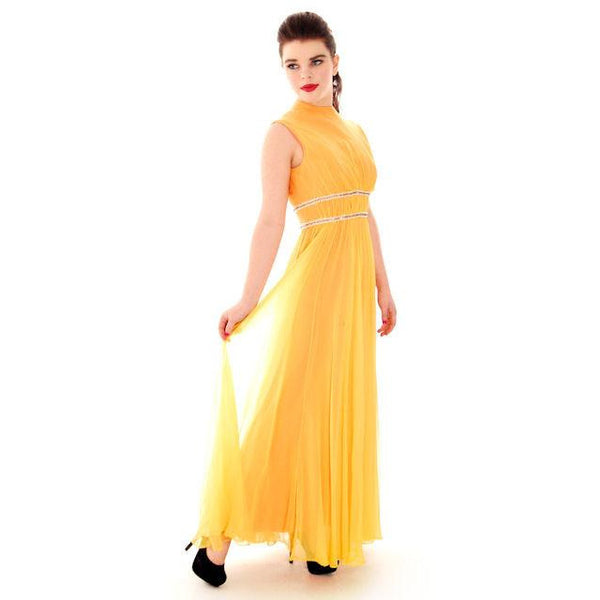 Vintage Yellow Silk Chiffon Maxi Evening Gown Modern Couture 1970s Small - The Best Vintage Clothing  - 2