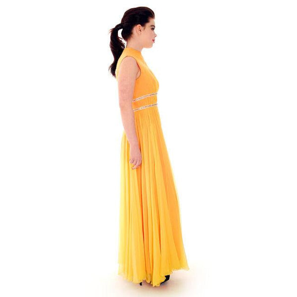 Vintage Yellow Silk Chiffon Maxi Evening Gown Modern Couture 1970s Small - The Best Vintage Clothing  - 6