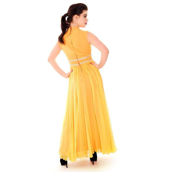 Vintage Yellow Silk Chiffon Maxi Evening Gown Modern Couture 1970s Small - The Best Vintage Clothing  - 5