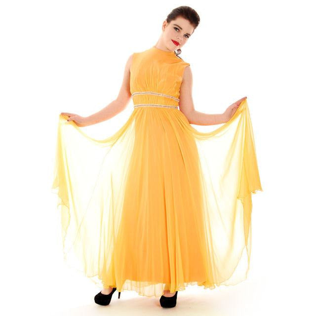 Vintage Yellow Silk Chiffon Maxi Evening Gown Modern Couture 1970s ...