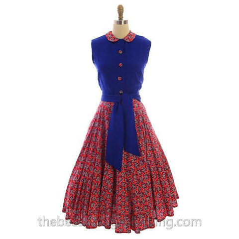 Vintage 2 PC Suit Skirt & Blouse Royal Blue & Red Print Linen Circle Skirt 1950s
