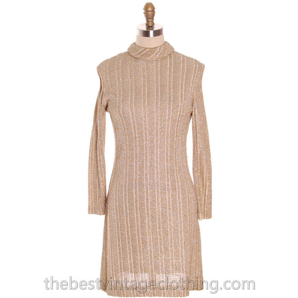 Vintage Gold & Silver Metallic Knit A line Dress 1970s Junior Touch S - The Best Vintage Clothing  - 1