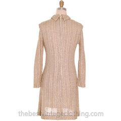 Vintage Gold & Silver Metallic Knit A line Dress 1970s Junior Touch S - The Best Vintage Clothing  - 3