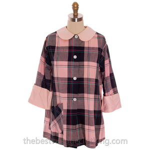 Vintage Man Tailored Tommies Cotton Smock Housewife Pink & Black I Love Lucy 1950s - The Best Vintage Clothing  - 1