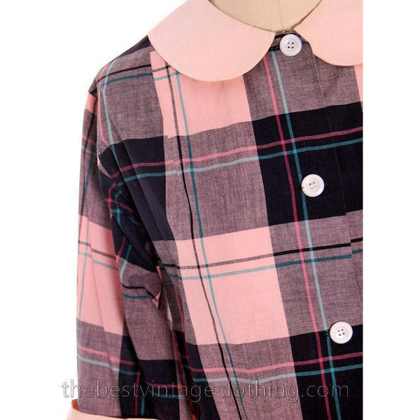 Vintage Man Tailored Tommies Cotton Smock Housewife Pink & Black I Love Lucy 1950s - The Best Vintage Clothing  - 3