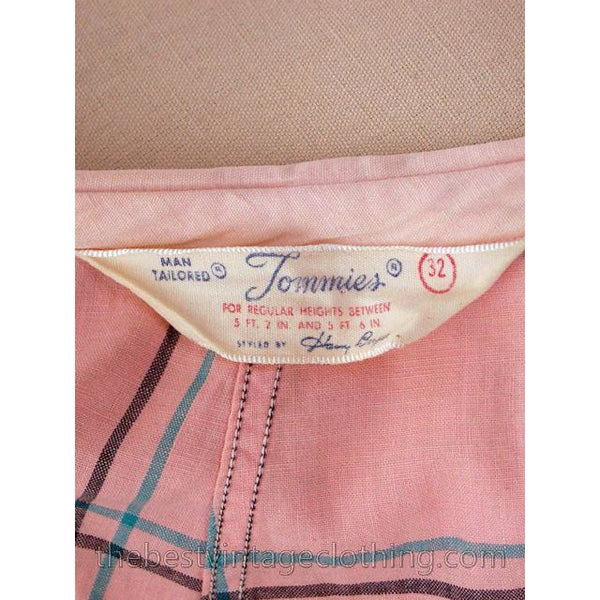 Vintage Man Tailored Tommies Cotton Smock Housewife Pink & Black I Love Lucy 1950s - The Best Vintage Clothing  - 5