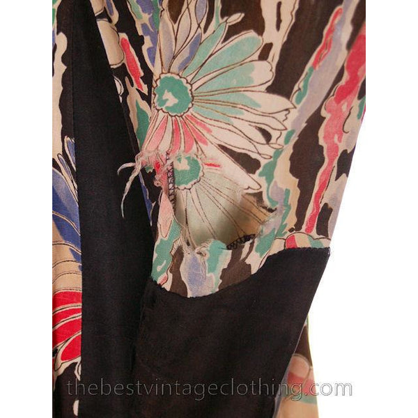 Vintage Work Smock Womens Great Floral Print on Black 1940s Snap Front Small - The Best Vintage Clothing  - 3