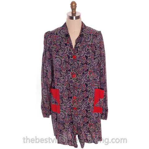 Womens Work Smock 1940s Rayon Printed  Paisley Nice A Line  M-L - The Best Vintage Clothing  - 1