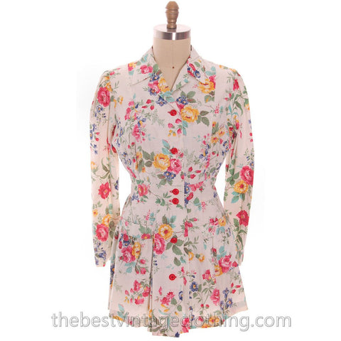 Vintage Cotton Smock Housewife Floral Roses Polished Cotton Blouse  I Love Lucy 1950s M-L