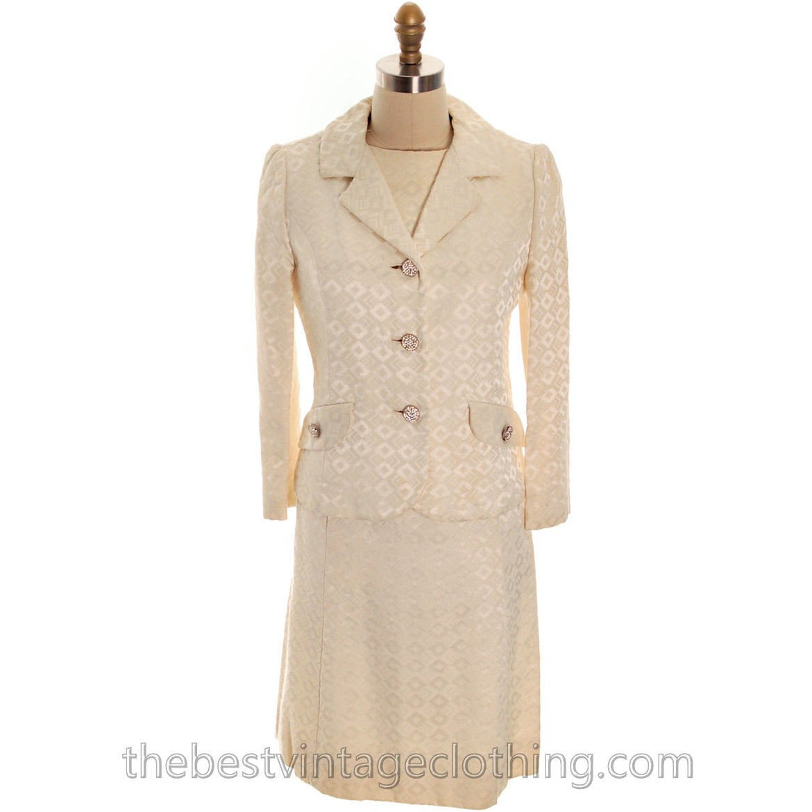 Vintage 1970s Ivory Brocade Suit Dress Lord & Taylor Rhinestone Buttons - The Best Vintage Clothing  - 1