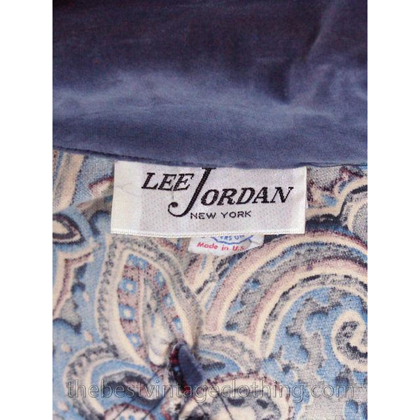 Vintage Maxi Skirt Suit Blue Velvet 1970s Lee Jordan Paisley Embellished 10 M - The Best Vintage Clothing  - 6