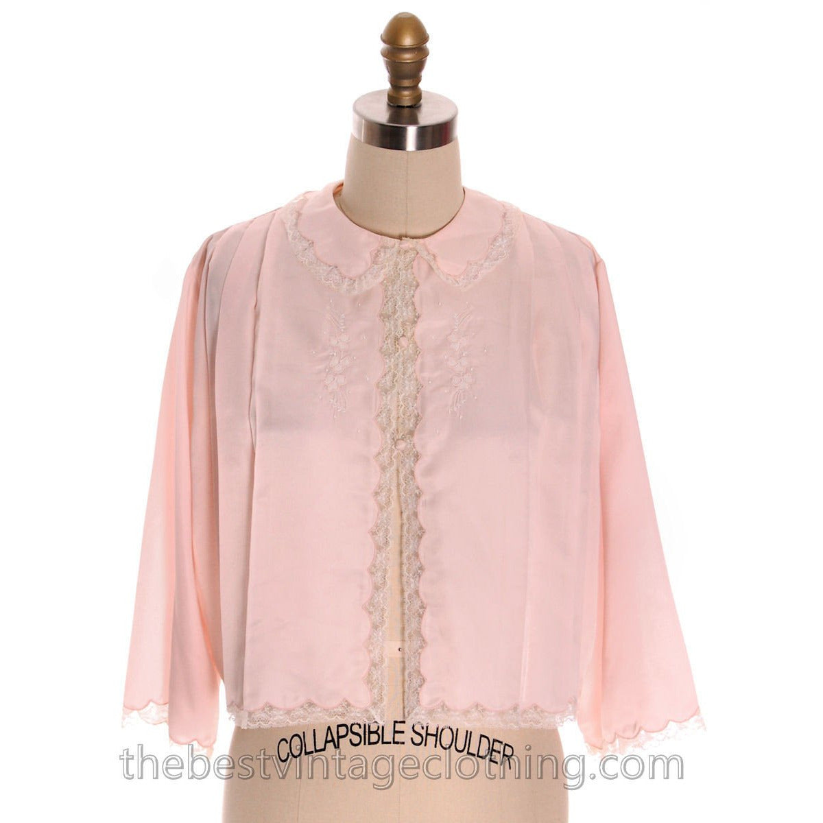 Vintage Bed Jacket Bonwit Teller Pink Satin w Lace Trim Never Worn 1950s L - The Best Vintage Clothing  - 1