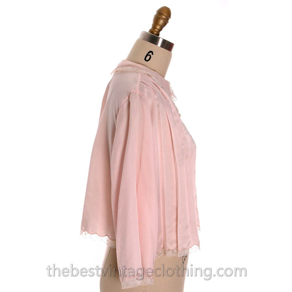 Vintage Bed Jacket Bonwit Teller Pink Satin w Lace Trim Never Worn 1950s L - The Best Vintage Clothing  - 2