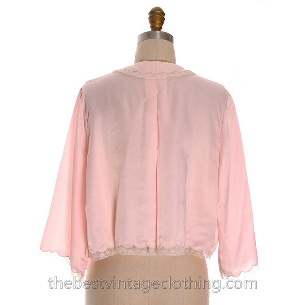 Vintage Bed Jacket Bonwit Teller Pink Satin w Lace Trim Never Worn 1950s L - The Best Vintage Clothing  - 3