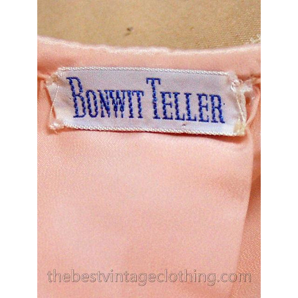 Vintage Bed Jacket Bonwit Teller Pink Satin w Lace Trim Never Worn 1950s L - The Best Vintage Clothing  - 5