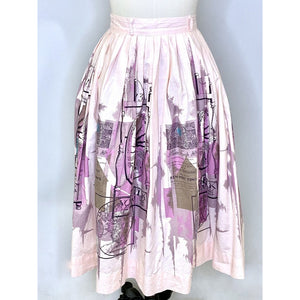 1950s Cute Vintage Pink Cotton Skirt Norfolk Inn Boston Graphic Philcraft Print Small 24""