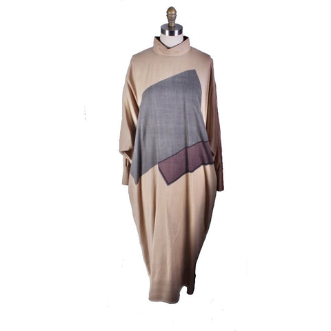 Vintage Vuokko Abstract Art Wool Voile Gown Tan Gray M 1980s Amazing!