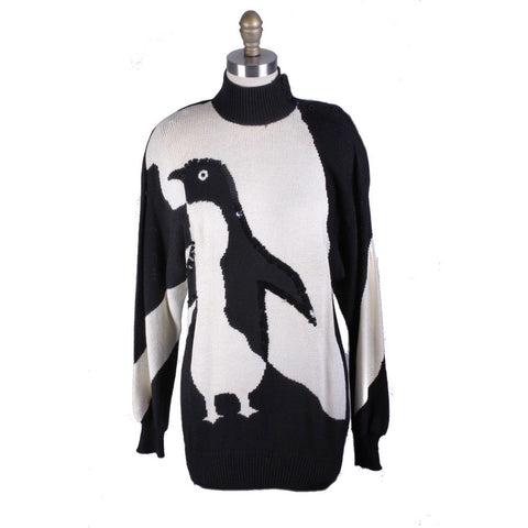 1980s Antonella Preve Penguin Sweater Tunic Womens S VTG