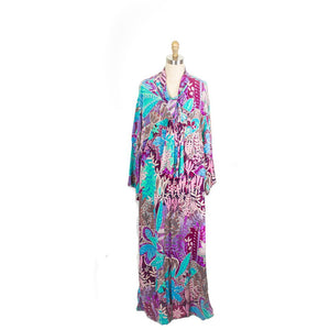 Vintage Jean Muir Dressing Gown Dress Silk Maxi Pink Turquoise Gorgeous o/s
