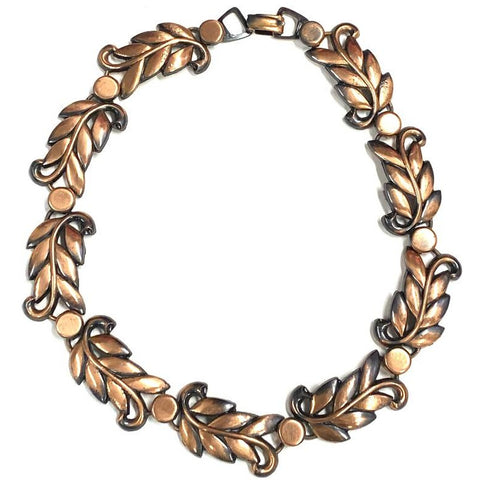 Vintage MCM Modernist Copper Necklace Choker Unsigned 1950s