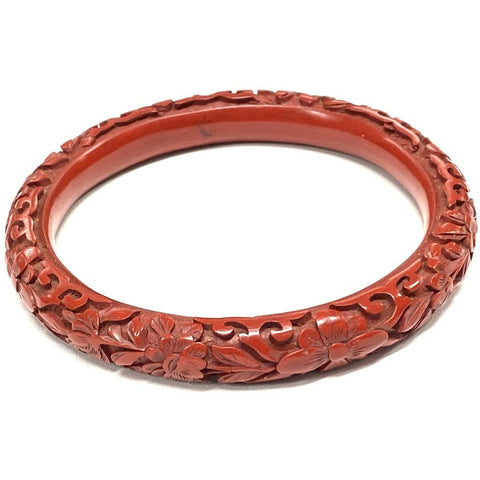 Vintage Antique 1920s Chinese Floral Carved Cinnabar Bangle Bracelet