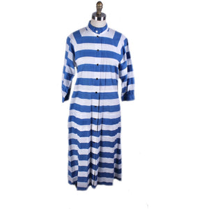 Vintage Vuokko Cotton Dress Blue & White Stripes Womens XS/S Snaps Coat-Dress