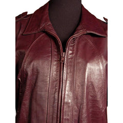 Vintage Purple Leather Bomber Jacket Unisex Casablanca Size 44 - The Best Vintage Clothing  - 3