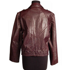 Vintage Purple Leather Bomber Jacket Unisex Casablanca Size 44 - The Best Vintage Clothing  - 2