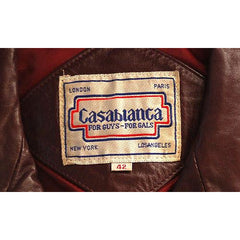 Vintage Purple Leather Bomber Jacket Unisex Casablanca Size 44 - The Best Vintage Clothing  - 4