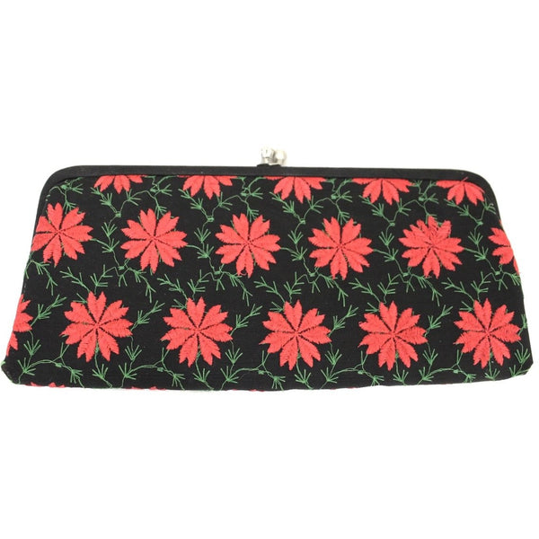 Womens Vintage Clutch Purse Bag Poinsettia Embroidery 1950s Black/Red