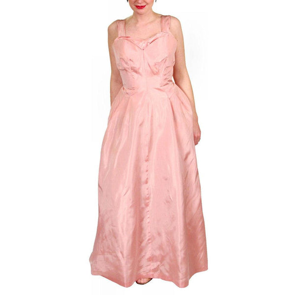 Vintage Pink Taffeta Evening Gown Mollie Stone 1950S 36-28-Free - The Best Vintage Clothing  - 2