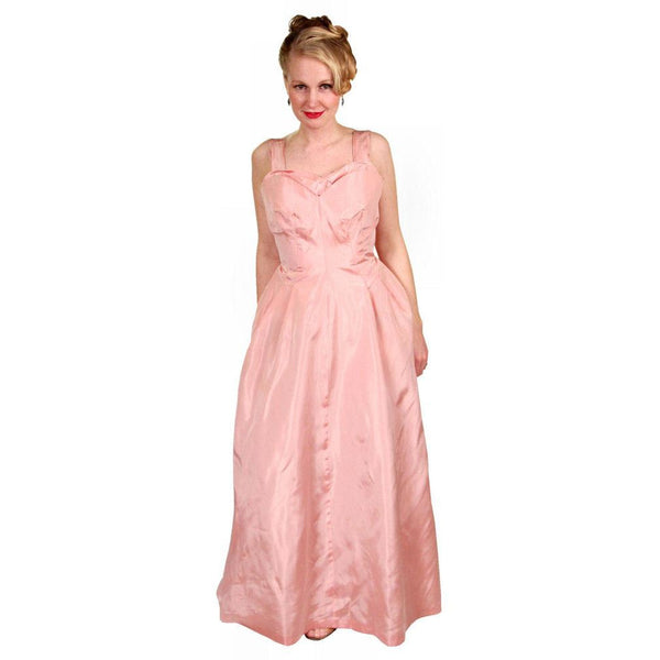 Vintage Pink Taffeta Evening Gown Mollie Stone 1950S 36-28-Free - The Best Vintage Clothing  - 3