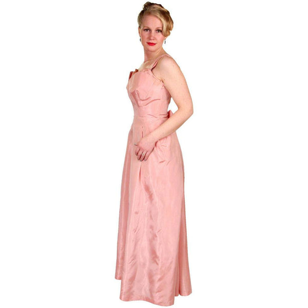 Vintage Pink Taffeta Evening Gown Mollie Stone 1950S 36-28-Free - The Best Vintage Clothing  - 1