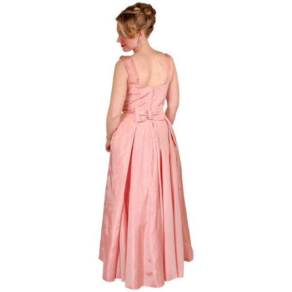 Vintage Pink Taffeta Evening Gown Mollie Stone 1950S 36-28-Free - The Best Vintage Clothing  - 4
