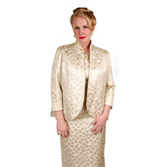 Vintage Couture Evening Gown / Coat Pale Gold Silk Brocade 1960  38-29-38 - The Best Vintage Clothing  - 6