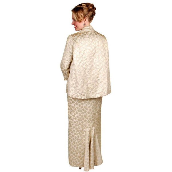 Vintage Couture Evening Gown / Coat Pale Gold Silk Brocade 1960  38-29-38 - The Best Vintage Clothing  - 7