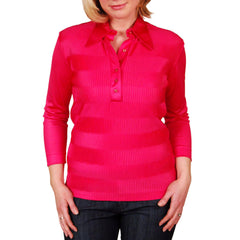 Vintage Blouse Fuchsia Rib Knit Acetate  Kay Silver 1970'S Medium - The Best Vintage Clothing  - 4