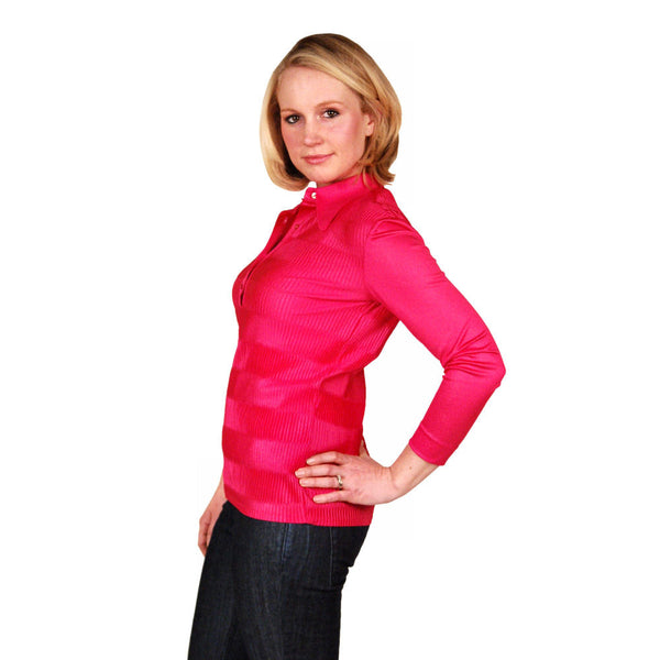 Vintage Blouse Fuchsia Rib Knit Acetate  Kay Silver 1970'S Medium - The Best Vintage Clothing  - 2