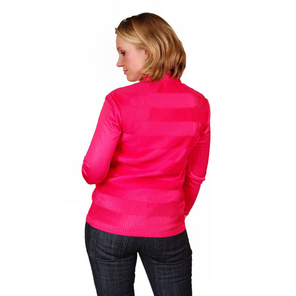 Vintage Blouse Fuchsia Rib Knit Acetate  Kay Silver 1970'S Medium - The Best Vintage Clothing  - 3