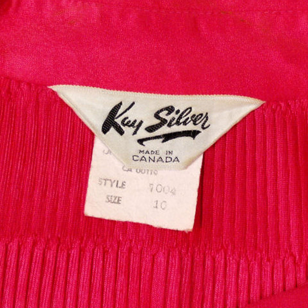 Vintage Blouse Fuchsia Rib Knit Acetate  Kay Silver 1970'S Medium - The Best Vintage Clothing  - 5