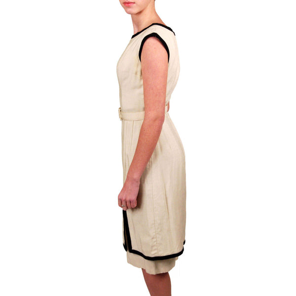 Vintage Linen Dress Black White Mort Schrader Jeunes Petites 1960'S Small - The Best Vintage Clothing  - 2