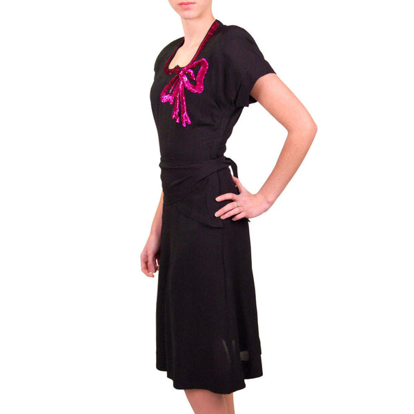 Vintage Black Rayon Dress W/Fuchsia Sequin Bow 1940'S - The Best Vintage Clothing  - 3