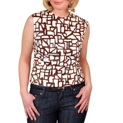 Vintage Blouse  Brown & White Abstract Sleeveless 1950'S 38 Bust - The Best Vintage Clothing  - 4
