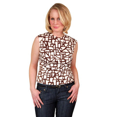 Vintage Blouse  Brown & White Abstract Sleeveless 1950'S 38 Bust - The Best Vintage Clothing  - 1