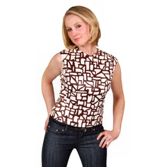 Vintage Blouse  Brown & White Abstract Sleeveless 1950'S 38 Bust - The Best Vintage Clothing  - 5